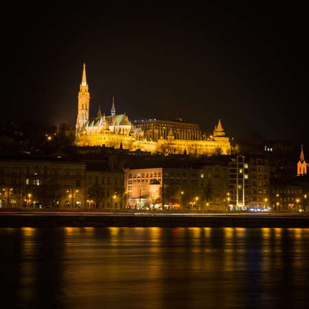 Fishermans Bastion in Budapest at night Stock Photo