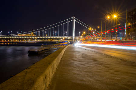 elisabeth: view from the Pest side of the Elisabeth Bridge in Budapest at night