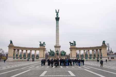 predecessor: BUDAPEST, HUNGARY - MARCH 13, 2015: Heroes Square is one of the major squares in Budapest, Hungary. March 13, 2015. Budapest, Hungary Editorial