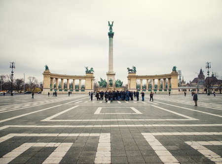 heros: BUDAPEST, HUNGARY - MARCH 13, 2015: Heroes Square is one of the major squares in Budapest, Hungary. March 13, 2015. Budapest, Hungary Editorial