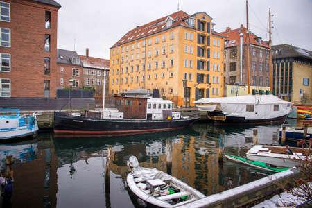located: COPENHAGEN, DENMARK - 30 DECEMBER, 2014: Christianshavn is a neighbourhood located in Copenhagen, Denmark. It was founded in the early 17th century by Christian IV. December 30, 2014 Copenhagen, Denmark. Editorial
