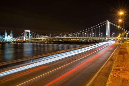elisabeth: view from the Buda side of the Elisabeth Bridge in Budapest at night Stock Photo
