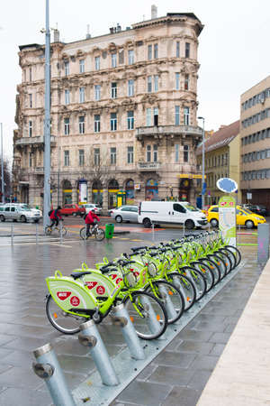 mol: BUDAPEST, HUNGARY - MARCH 13, 2015: Parking Bicycle rental in the center of Budapest. March 13, 2015. Budapest, Hungary Editorial