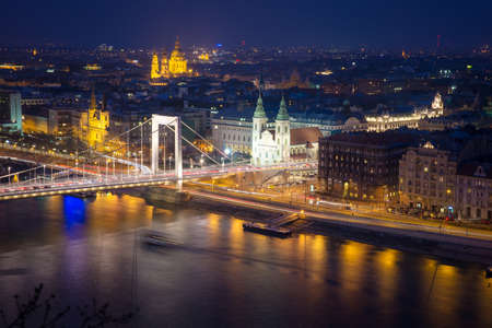 elisabeth: top view from the Buda side of the Elisabeth Bridge in Budapest at night