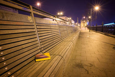 empty bench: An empty bench at night in Budapest