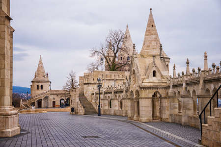 bastion: Fishermans Bastion in Budapest in Hungary at day