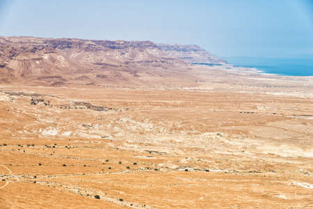 masada: Top view from Masada fortress to the Judaean desert and the Dead Sea Stock Photo