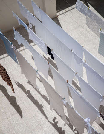 dress blowing in the wind: Drying clothes in the Old City of Jerusalem