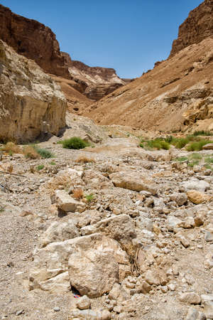 masada: view of the dry mountains of Masada in Israel Stock Photo