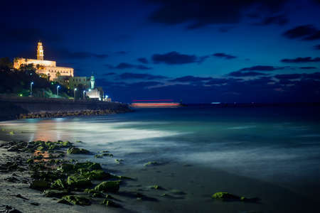 yaffo: view of the old city of Jaffa from the coast in Tel Aviv at night Stock Photo