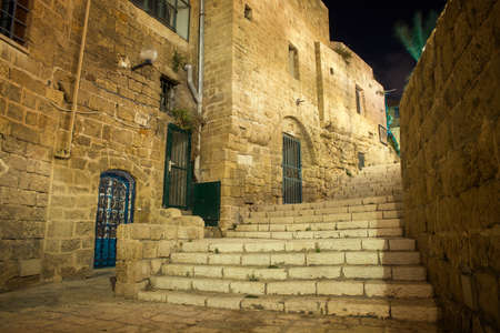 yaffo: stone old city Jaffa in Tel Aviv at night