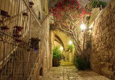 stone old city Jaffa in Tel Aviv at night