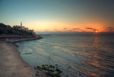 yaffo: view of the old port in Tel Aviv at sunset