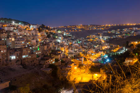 jewish houses: view from the height on the night of Jerusalem