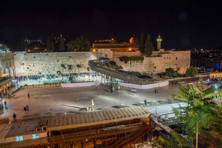 hasidism: Western Wall in Jerusalem at night Stock Photo
