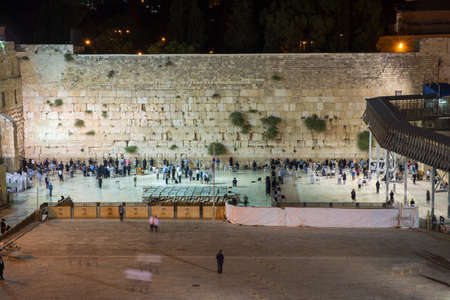 jewish community: Western Wall in Jerusalem at night Stock Photo