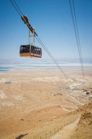 funicular climbs uphill to Masada