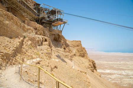 masada: funicular climbs uphill to Masada