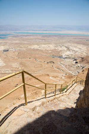masada: steps from the mountain of Masada near the Dead Sea Stock Photo