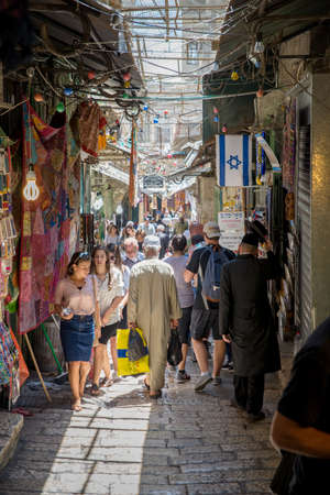 JERUSALEM, ISRAEL - JUNE 1, 2015: Bazaar in Old City offers middle east traditional products and souvenirs.. June 1, 2015. Jerusalem, Israel.