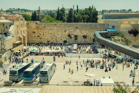kotel: JERUSALEM, ISRAEL - JUNE 1, 2015: The Western Wall, Wailing Wall or Kotel. One of the most important religious shrines. June 1, 2015. Jerusalem, Israel.