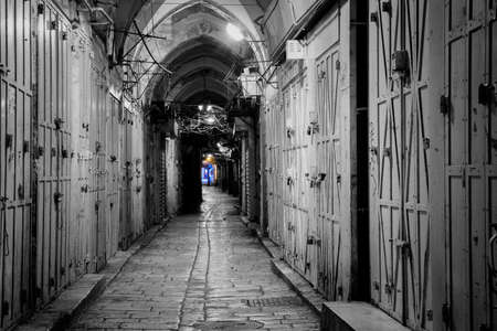 jewish home: long narrow street in the Old City of Jerusalem Stock Photo