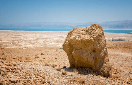 Top view from Masada fortress to the Judaean desert and the Dead Sea Stock Photo