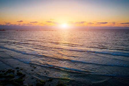 beautiful sunset over the Mediterranean Sea in Tel Aviv Stock Photo