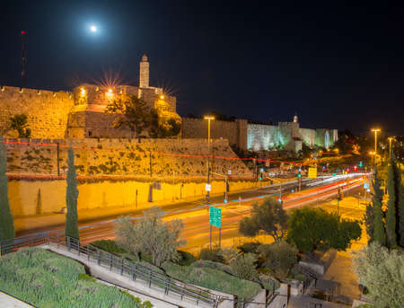 moon gate: the old city walls of Jerusalem at night Stock Photo