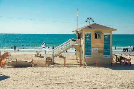 TEL AVIV, ISRAEL - JUNE 4, 2015: Building lifeguards on the beach of Tel Aviv. June 4, 2015. Tel Aviv, Israel.