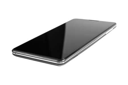telecommunications equipment: black smartphone on white background