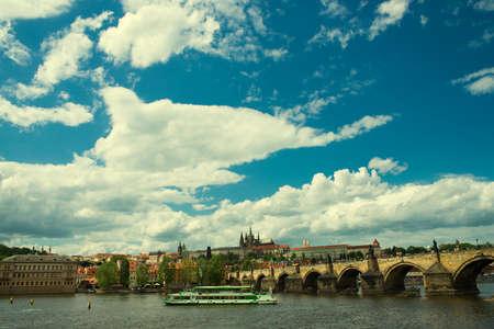 vitus: view of the Charles Bridge and St. Vitus Cathedral in Prague