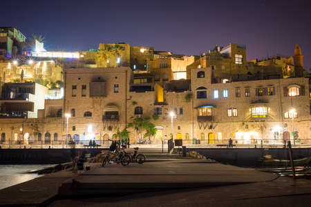 view of the old city of Jaffa in Tel Aviv at night