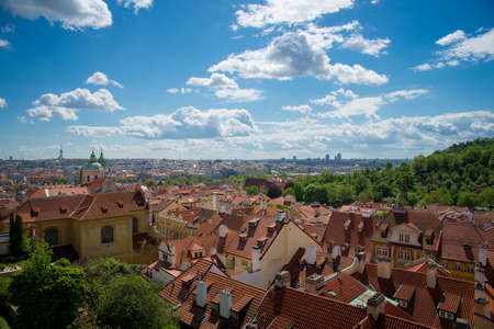 view of the roof from the height in Prague Stock Photo
