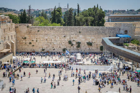 kotel: JERUSALEM, ISRAEL - JUNE 1, 2015: The Western Wall, Wailing Wall or Kotel. One of the most important religious shrines