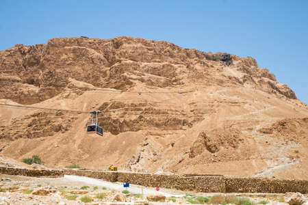 view of the dry mountains of Masada in Israel Stock Photo