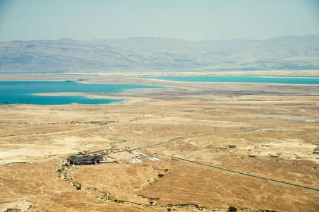 judaean: Top view from Masada fortress to the Judaean desert and the Dead Sea Stock Photo