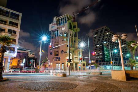 TEL AVIV, ISRAEL - JUNE 4, 2015: View of the business district with modern buildings in Tel Aviv at night. June 4, 2015. Tel Aviv, Israel. Editorial