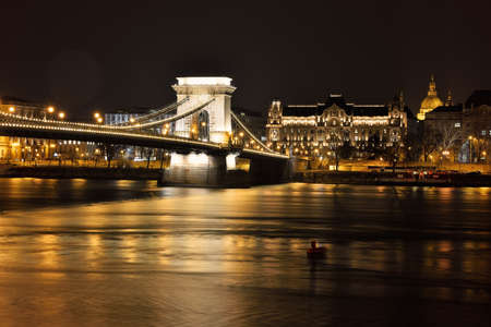 light chains: Chain Bridge at night in Budapest