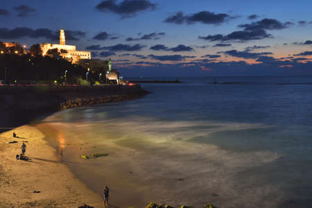 view of the old port in Tel Aviv at sunset