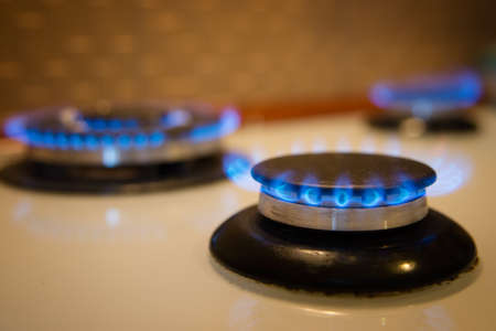 Gas Stove Burner Blue Flame Stock Photo