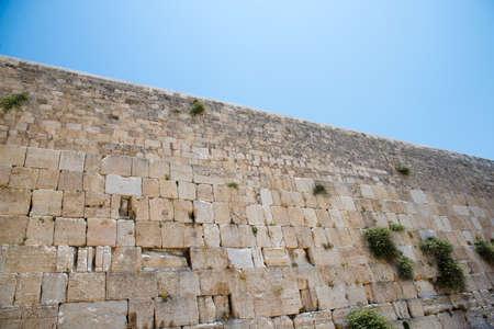 Western Wall against the blue sky