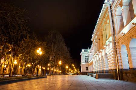 beautiful street in Tbilisi by night