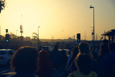 many people in Istanbul during sunset
