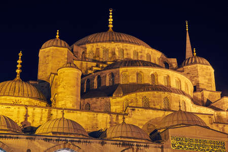 The Sultan Ahmed Mosque in Istanbul at night