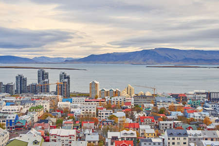 Top view of the Reykjavik in autumn