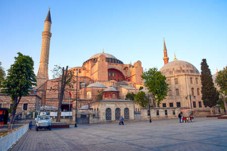 The Hagia Sophia in Istanbul during sunset Stock Photo