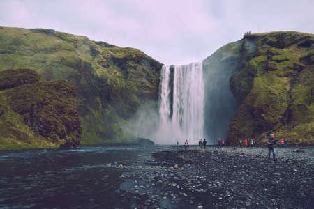 Skogafoss is a waterfall in Iceland 版權商用圖片