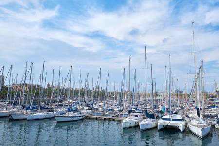 BARCELONA, SPAIN -MAY 18, 2018: Many yachts in the port of the city