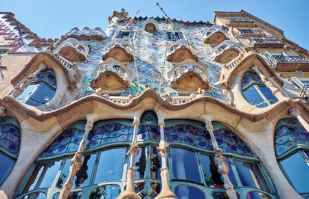 BARCELONA, SPAIN -MAY 19, 2018: Casa Batllo is a renowned building located in Barcelona and is one of Antoni Gaudi